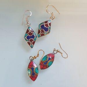 Jewelry - Two pairs Native American inlay jewelry