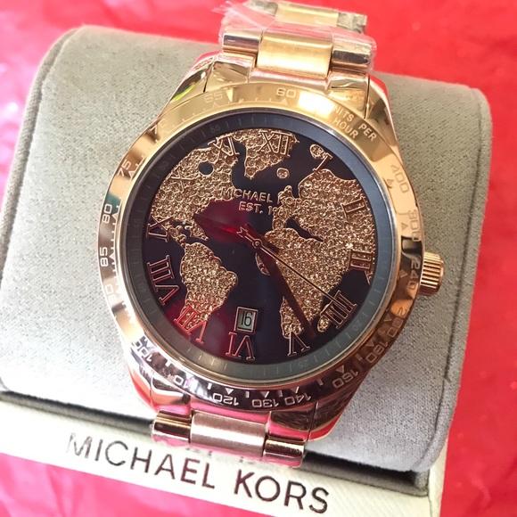 Michael kors accessories nwt rose gold world map womens watch poshmark nwt michael kors rose gold world map womens watch gumiabroncs Choice Image