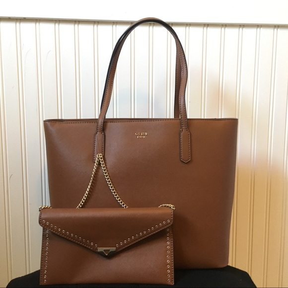 3c6422ac088b Handbags - New Guess Cognac Brown Lottie Tote with Clutch