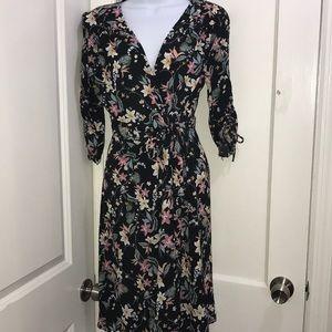Atmosphere Primark Black Floral Wrap Dress US Sz 8