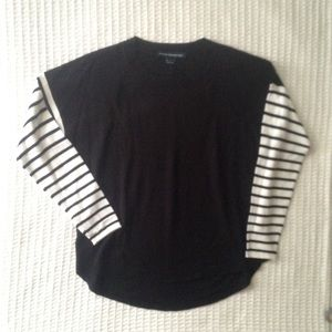French Connection black white striped sweater sz L