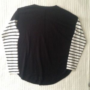 French Connection Sweaters - French Connection black white striped sweater sz L