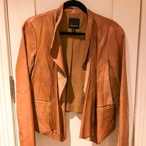 Trouve Brown Drape Front Leather Jacket, Size L