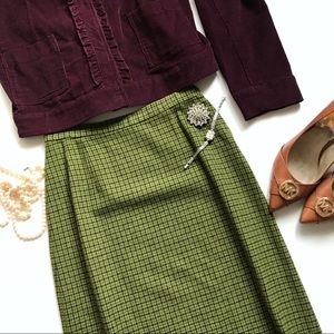 Vintage 1950's Pendleton Small Olive Pencil Skirt