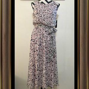 MSK Flowers Printed Belted Dress