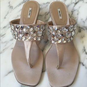 Miu Miu Kitten Heel Swarovski Thong Sandals
