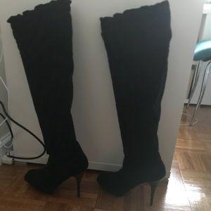 Black suede, high heel boots 39