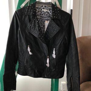 Black vegan moto spikes jacket  (studded) SZ 12