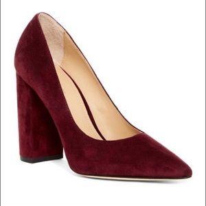 Pour La Victoire Celina Burgundy Block Heel Pump