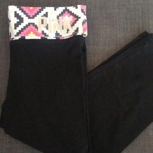 PINK Black Capri Legging w/ Aztec Neon Band