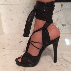 Givenchy black tie up heels