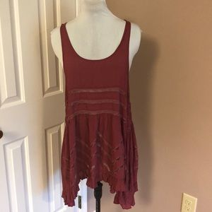 Free People Voile and Lace Trapeze Dress Sz Small