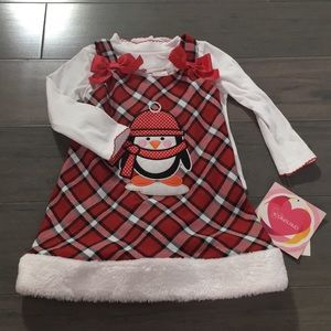 NWT New Christmas Red Youngland Penguin Dress 3T