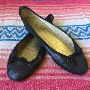 Black leather glitter London Sole flat 40 US 8 8.5