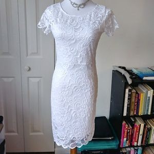 Brand new stunning white lace body con dress NWT