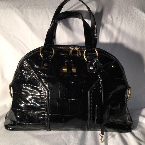 c5c9ac9e3145 Yves Saint Laurent Large Muse Black Patent Leather.  M 5a2455c599086a4a270899fb
