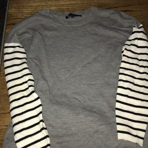 FRENCH CONNECTION SWEATER gray with b/w stripe Slv
