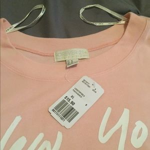 Forever 21 Plus Sizes Tops - Women's Forever 21 Plus Size Peach Crop Sweatshirt