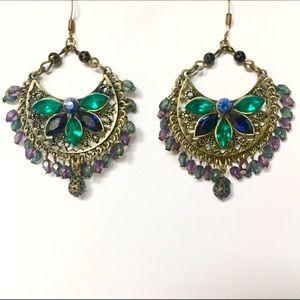 Jewelry - Blue & green stone dangling earrings