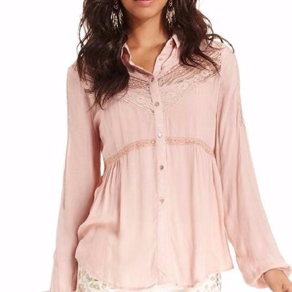 3feaf38e Free People Tops - Free People Wild Wind Lace Inset Button Down Top