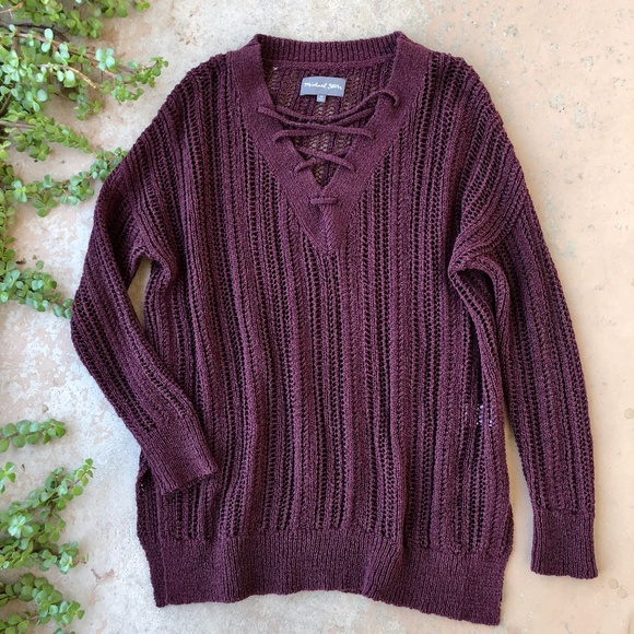 Michael Stars Maroon Wine Lace Up Sweater 9fb9de987