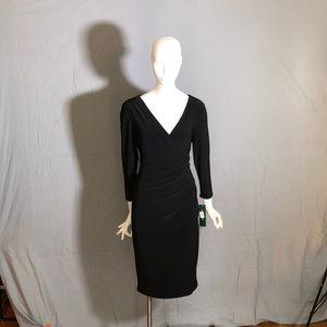 Ralph Lauren Black Faux-Wrap Long Sleeve Dress NWT