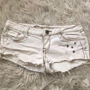 Pants - Distressed White Denim Shorts