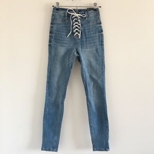 NWT Missguided Vice Lace Up Skinny Jeans Size 2