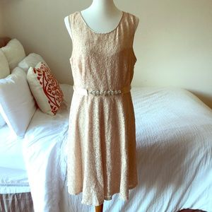 Nude/neutral lace cocktail dress