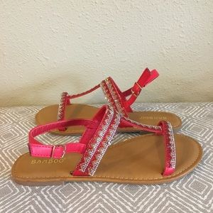NEW! Red jeweled t-strap sandal, size 8 1/2
