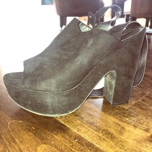 Suede with wrap around strap & chunky heel
