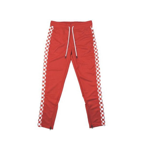 Other - Checkered Track Pants - Red