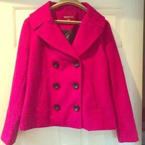 Fushia Wool Pea Coat