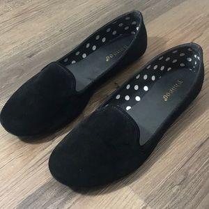 Suede Velvet Ballerina Flats Black