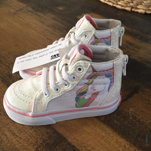 14b05cc9304 Vans fitter unicorn Sk8 high tops NWT sz 5c