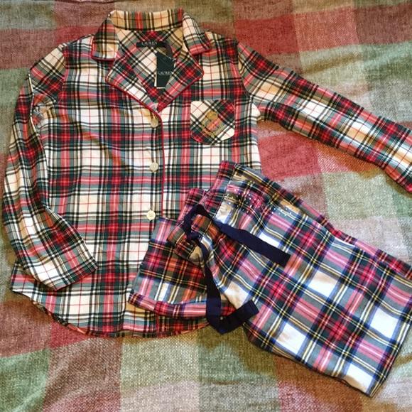 c526566076274 New Lauren Ralph Lauren classic Flannel Pajama Set