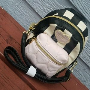 Betsey Johnson light pink striped mini backpack