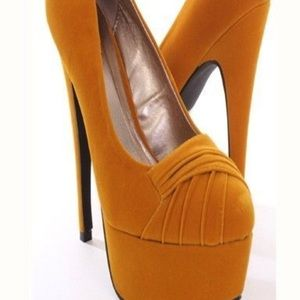 Pleated Mustard High Velvet Heels Pump Vamp 4A3RqL5j