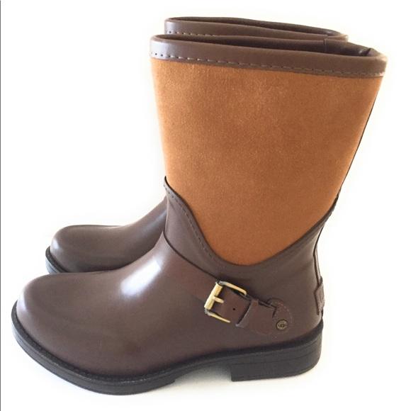 2c898aa5e2e Ugg Womens Sivada Rain Boots Chocolate Size 6 NWT