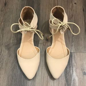 BAMBOO Sequel-15M Blush Lace Up Flats Pointed Toe