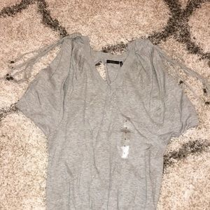 Guess Gray Open Back Braided Shoulder Sweater S