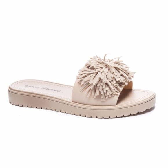 c9e02b4a3130 dirty laundry Shoes - Fringe Pom Pom suede slide SANDAL Tan size 8