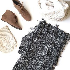 Volcom Husky Fringe Knit Sweater in B&W Static