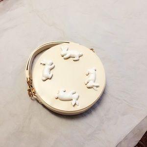 Handbags - Unique circular purse with ceramic bunnies NWOT