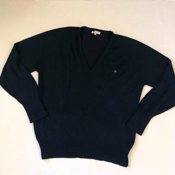 Vintage 1980's Christian Dior Monsieur Navy Blue V Neck Sweater dEpOe