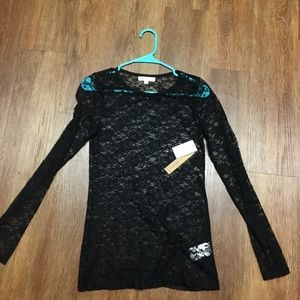 Black Lace Long Sleeve Shirt