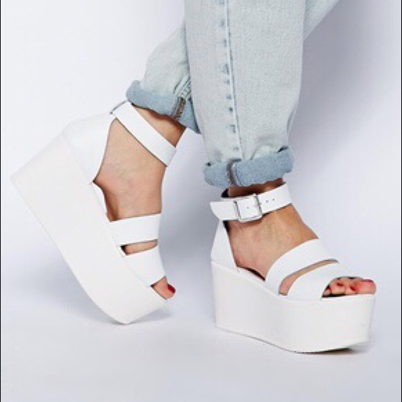 32ac2d49a0e ASOS Shoes - ASOS Harvest White Leather Platform Sandals 8