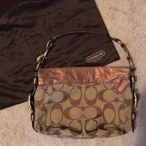 Coach Signature Brown Metallic Shoulder Bag