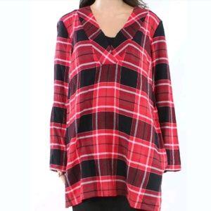 NWT $130 Michael Kors Red Plaid Tunic M MK