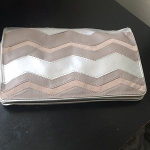 Stylish Holiday Velvet Lined Clutch Silver & Tan